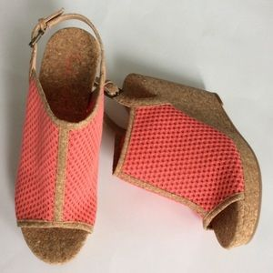 Anthropologie Shoes - Rust Perp Toe Cork Wedge Platfoem Sandal